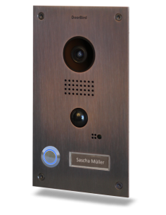 Doorbird - IP Video Door Station D202B, Full Stainless-Steel with Bronze finish, Flush-mounted housing made of galvanized steel